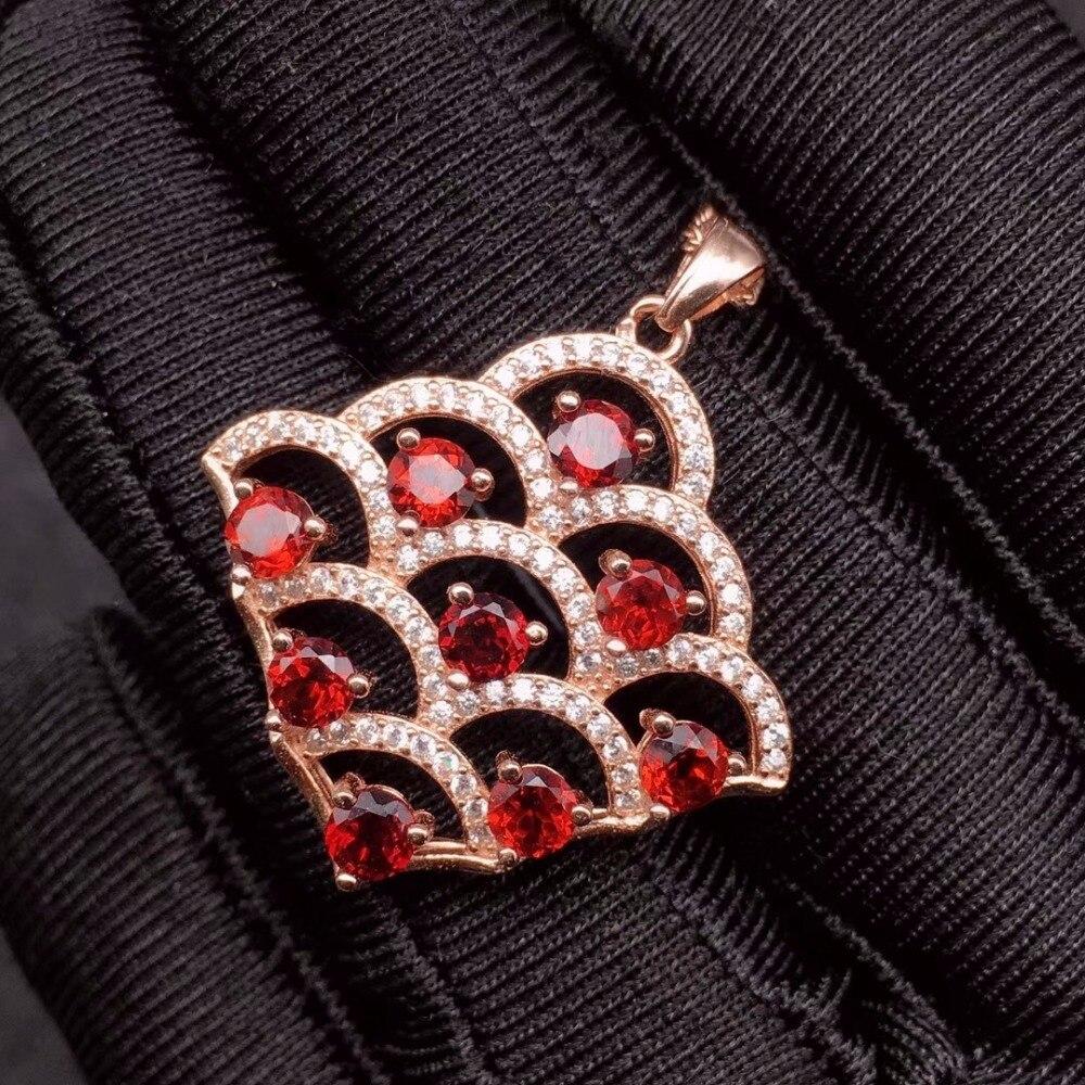 Natural garnet necklace, Christmas gift, novel design, good gem quality, 925 silver materialNatural garnet necklace, Christmas gift, novel design, good gem quality, 925 silver material