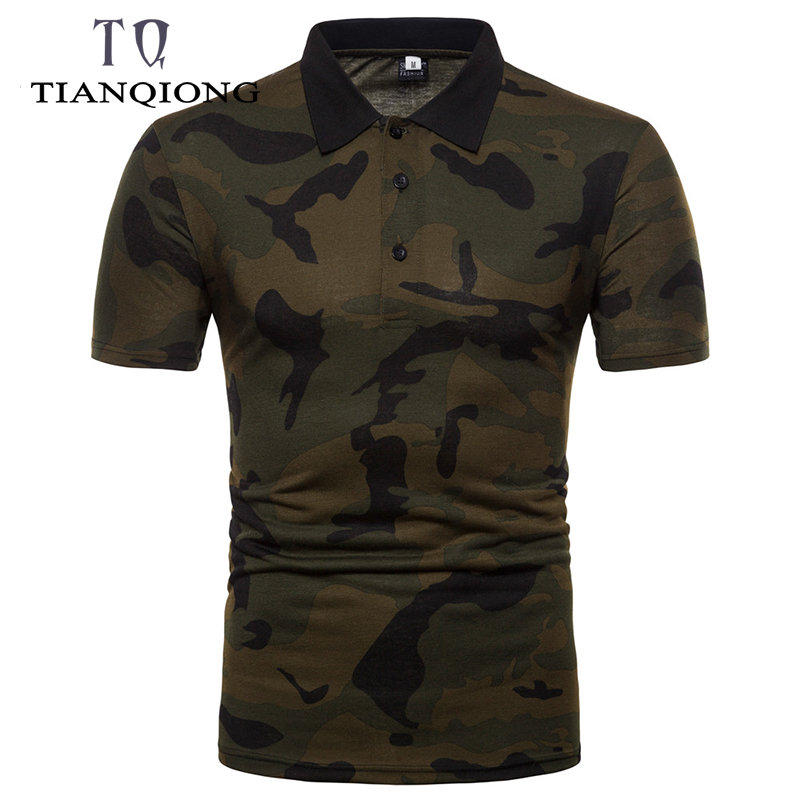 2019 Fashion New Summer Camouflage Mens   Polo   Shirt Outdoor Sport Short Sleeve Men's Slim Fit Breathable   Polo   Shirt