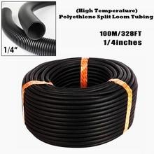 Non-toxic PE Black Split Loom Conduit Corrugated Reusable Tubing Highly Flexible 100m 1/4″ Open Home Garden Supplies