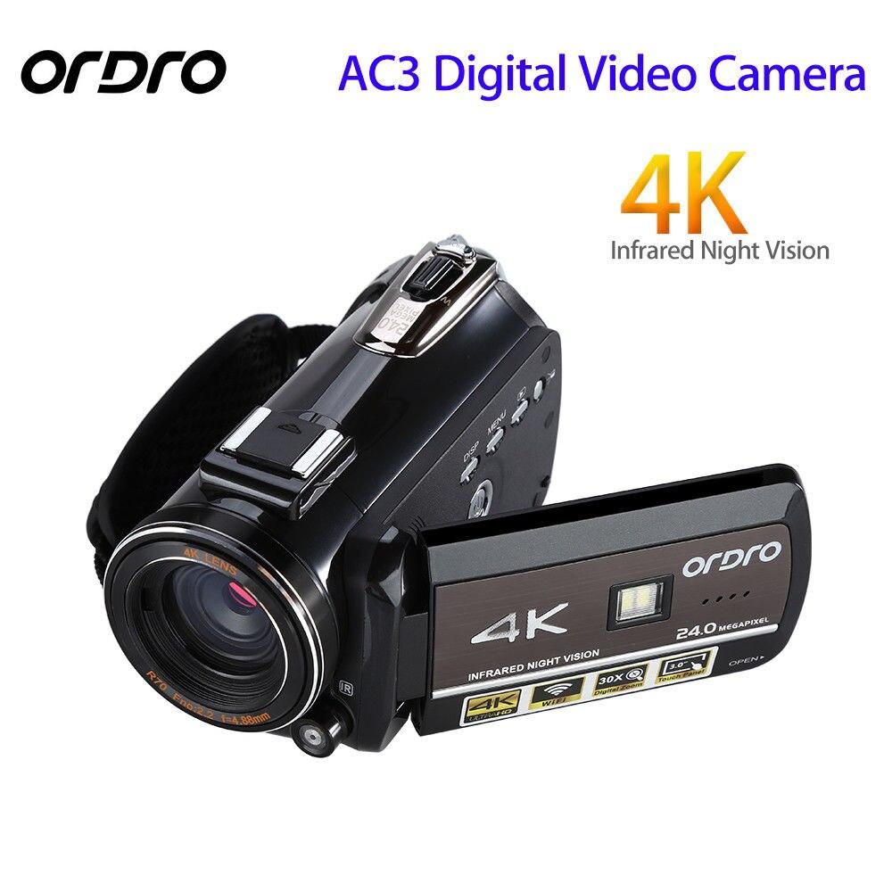 ORDRO Mise À Jour AC3 4 k Chaude Chaussure WIFI Appareil Photo Numérique HDMI 24MP Infrarouge Vision Nocturne Enregistrement Vidéo Caméscope 3 écran tactile
