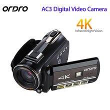 ORDRO обновлен AC3 4 K Горячий башмак WI-FI цифровой Камера HDMI 24MP инфракрасный Ночное видение видео запись видеокамеры 3 «Сенсорный экран