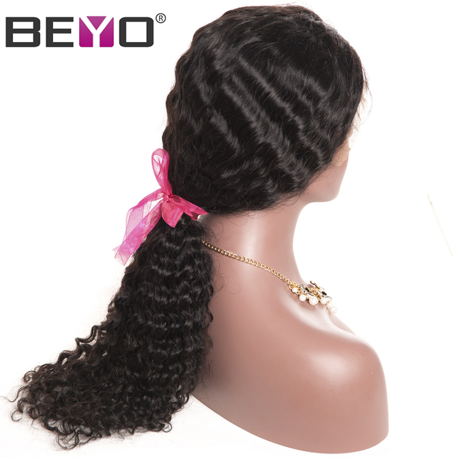 Deep Wave Wig 360 Lace Frontal Wigs With Baby Hair 150 Density Lace Front Human Hair