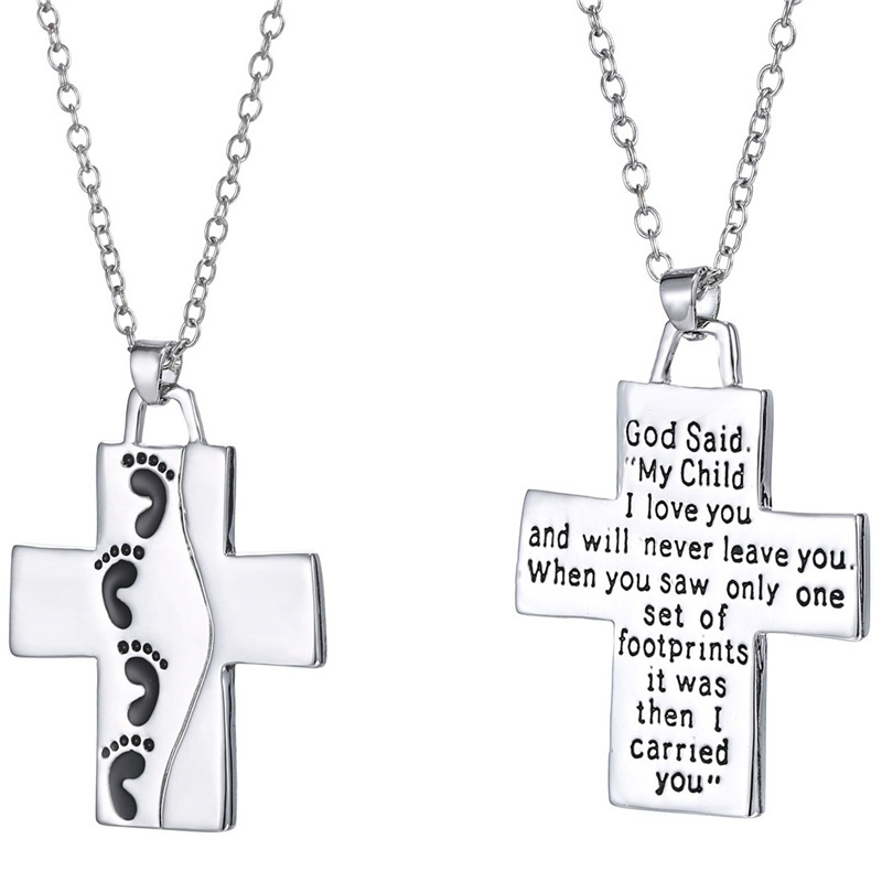 Daugther Son Gift My Child I Love You Letter Cross Footprint Noble elegant vintage Pendant popular women Necklace (Color:Silver)