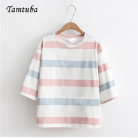 Woman Fresh Style Half Sleeves Cotton Color Striped T Shirts Female Casual Loose O Neck Tshirt