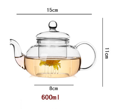 Heat Resistant Glass Flower Tea Pot