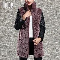 Vera pelle nera spliced cappotti invernali per le donne pecora tosata montone lungo cappotto di trincea outwear jaqueta de couro LT1086