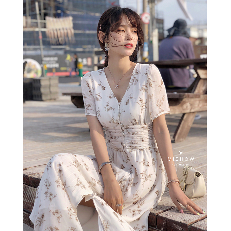 MISHOW Floral Printed Dress For Women Beach Boho Dress Split Hem Summer 2019 Elegant Long Dress Girls Clothes MX19B1381