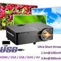 1080P DLP Short Throw Projector 6000lumens 240W UHP Lamp Active Shutter 3D Projector with HDMI USB VGA RJ45 Free Shipping !!
