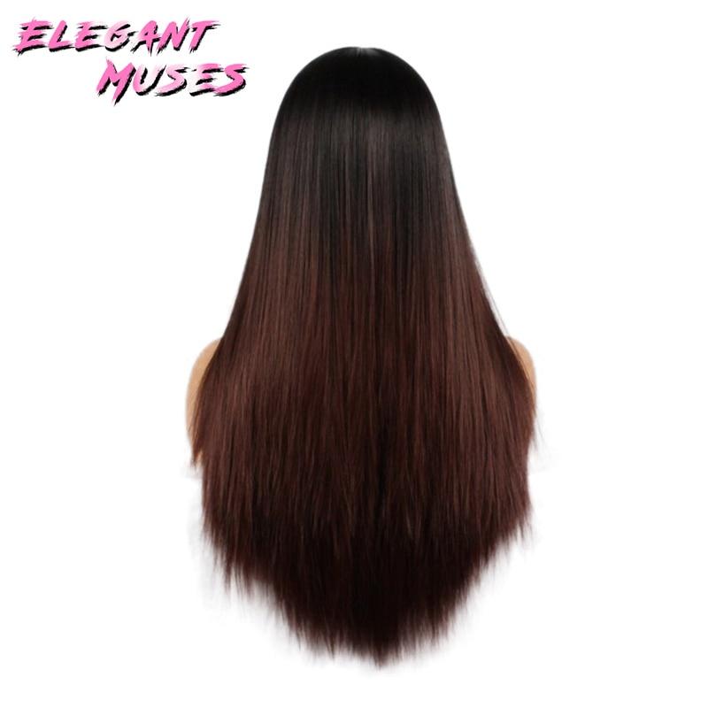 ZARIF MUSES Siyah Kadınlar Için 26 inç Ombre Gri Peruk Uzun Düz - Sentetik Saç - Fotoğraf 2