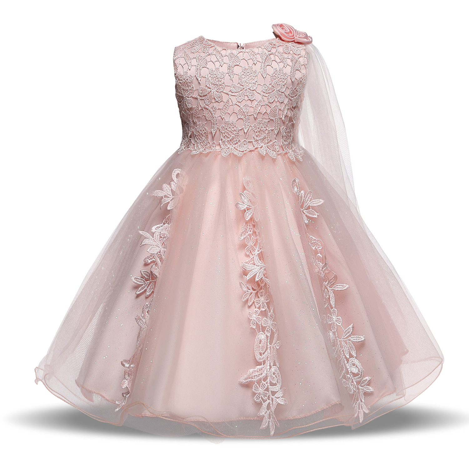 PluckyStar High Quality 2 4Y Kids Dresses For Girls Pink/White Flower Dress For Girl Lace Vestidos Costume Princess Dress D09