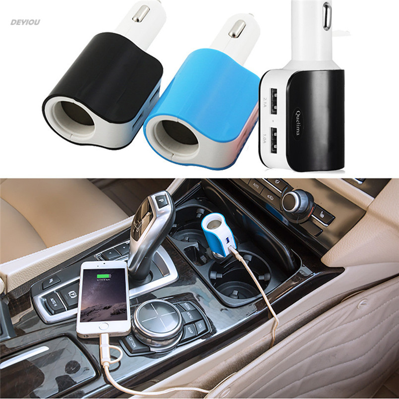 USB Car Charger Adapter with Cigarette Lighter Socket and Dual USB Charging Ports 17W 3.1A DEYIOU
