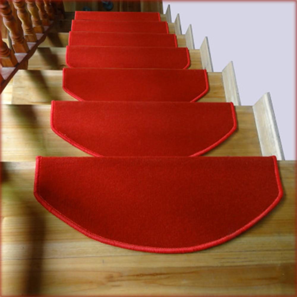 Yazi Anti Slip Stairs Carpet Self Adhesive Red Brushed Plush Rug Living  Room Soft Safe Stairway Mat Washable