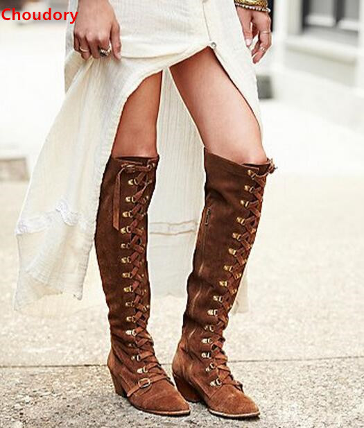 Black/khaki/brown 3 colors lace up knee high boots 5CM chunky heels round toe mid-heel woman suede long boots size 35-42