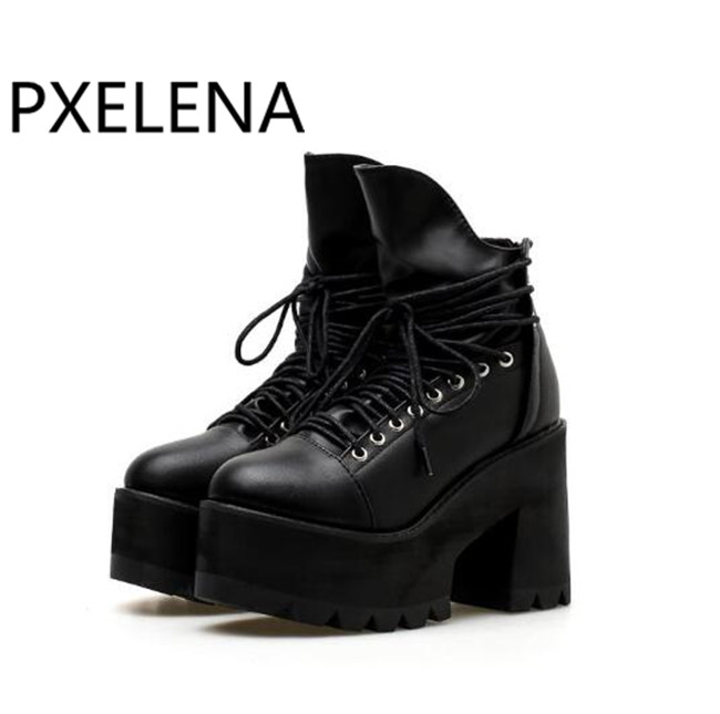 67441e86e0270 PXELENA Hot Rome Vintage Punk Rock Gothic Creepers Ankle Boots Women Lace Up  Thick Platform Chunky Block High Heels Martin Boots-in Ankle Boots from  Shoes ...