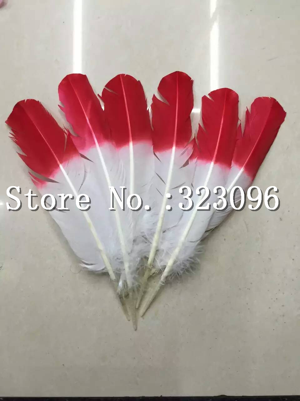 Free shipping 100pcs wholesale Appox 30cm red&white real natural turkey feathers plumes hair extensions goose feather for sale