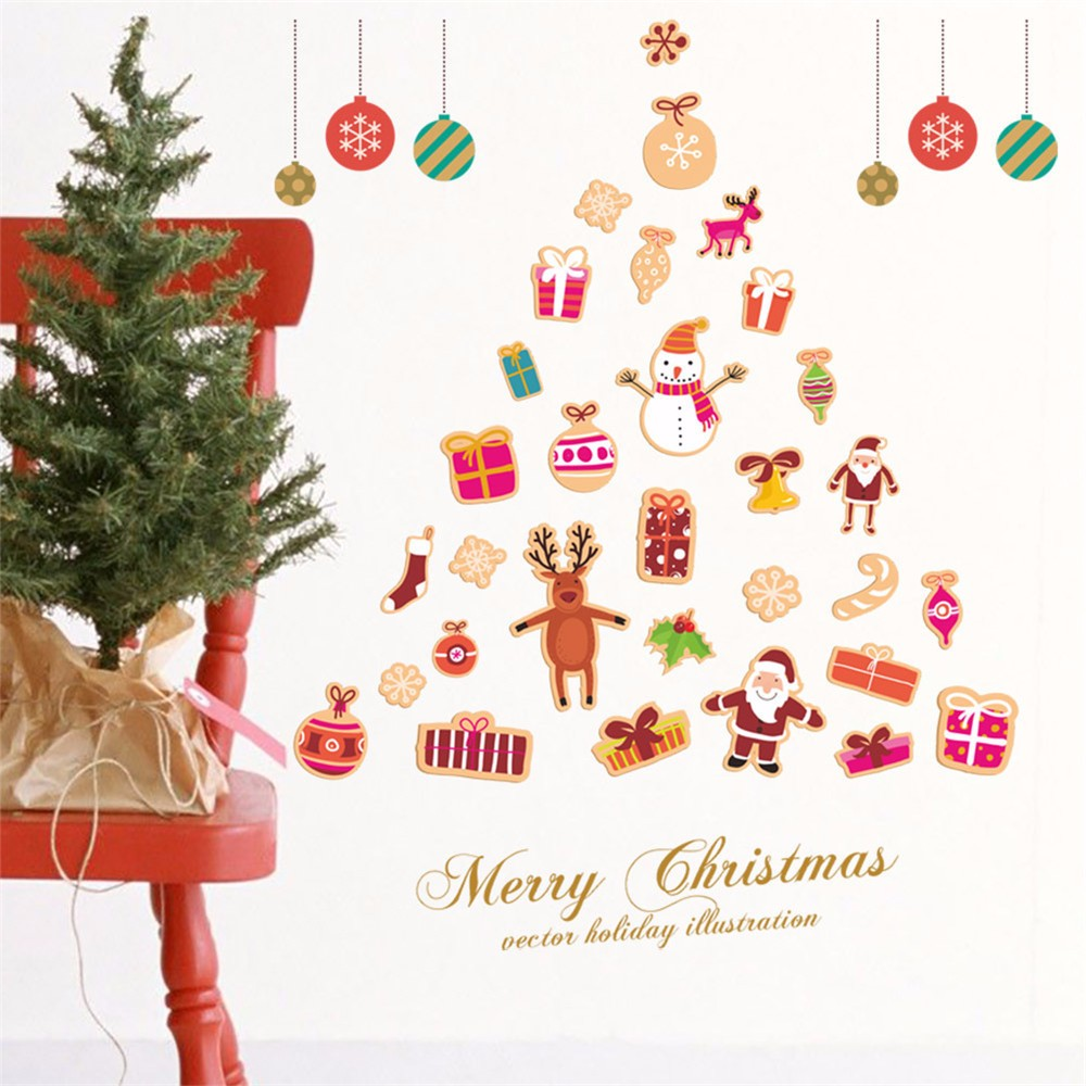 Merry Christmas Santa Claus Christmas Tree Gifts Wall Decals Kids Living Room Bedroom Shop Window Removable Wall Stickers Murals DIY Home Decorations Art Decor Merry Christmas Wall Stickers Light up in the Dark