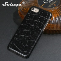 Black Natural Real Genuine Leather Case For IPhone 7 Cell Phone Luxury 3D Crocodile Skin Pattern
