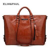 ELIM PAUL Brand Women Bags Large Tote Top Handle Handbags Travel Business Tote Shoulder Bags Quality