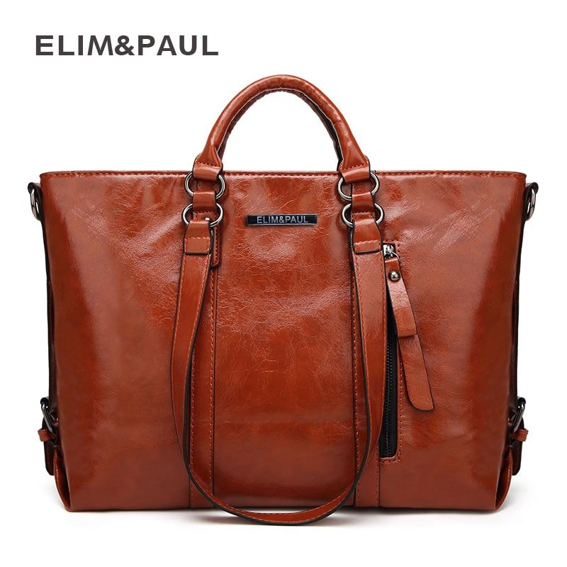ELIM&PAUL Women Top-Handle Bags Female Large Tote Handbags Business Shoulder Bags Women PU Leather Crossbody Bag bolsos mujer paul kossof business franchising in china