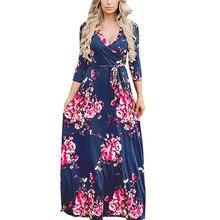 Women Long Maxi Dresses Bohemia V-neck Wrist Sleeve Floral Print Ethnic Summer Beach Female Stylish Long Dress Navy White XXL stylish stand neck long sleeves floral print jacket for women