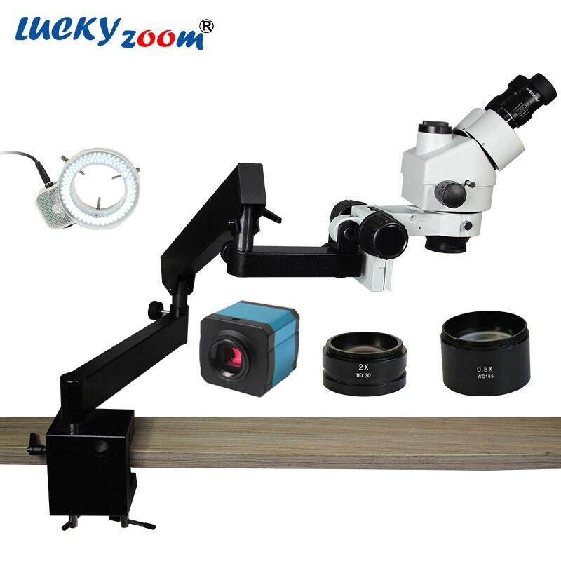 Lucky Zoom 3.5X-90X Simul-Focuse Тринокулярный шарнирный зажим стерео микроскоп 144 светодиодный 14MP HDMI Microscopio камера
