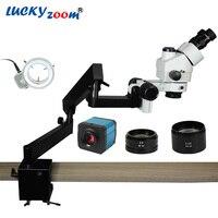 Lucky Zoom 3.5X 90X Simul Focuse Trinocular Articulating Arm Clamp Stereo Microscope 144 LED 14MP HDMI Microscopio Camera