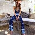 Лето Стиль Sexy Слинг Rompers Женщин Комбинезон Мода Отпечатано Спинки Прямые Брюки Повседневная одежда для Пляжа