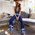 Summer Style Sexy Sling Rompers Womens Jumpsuit Fashion Printed Backless Straight Pants Casual Beach Wear