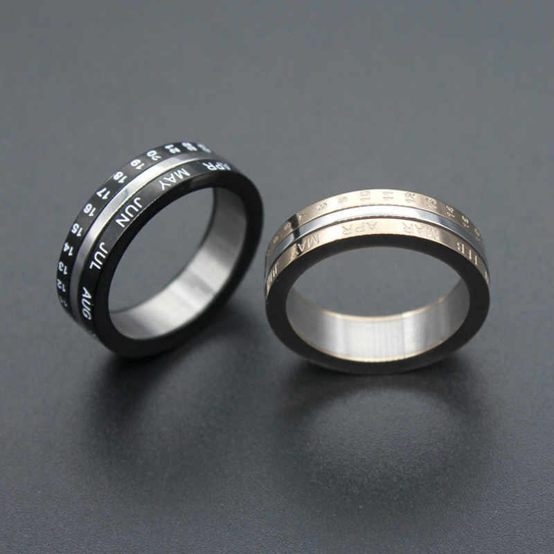 Titanium Steel Couple Rings Digital Date Ring Black Rose Gold Color Lovers Ring Rotatable Women Men Fashion Jewelry Size 6-11