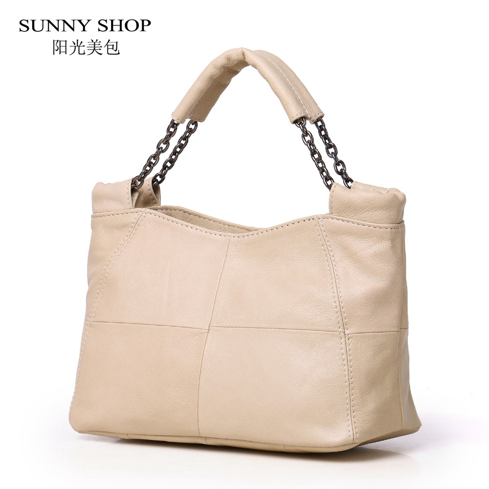 SUNNY SHOP 100% Genuine Leather Women Bag Brand Designer Luxury Cowhide Skin Shoulder Bags Fashion Chain Office work Handbags luxury genuine leather bag fashion brand designer women handbag cowhide leather shoulder composite bag casual totes