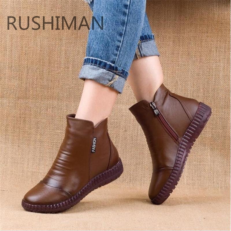 Fashion Winter Plus Velvet Leather Mother Shoes Women Boots Round Head Thick Bottom Leather Waterproof Woma Knight  Boots 35-43