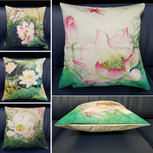 45*45cm Home Decorative Throw Pillows Vintage Chinese Style Lotus Printed Cotton Linen Cushion Cover For Sofa Car Office Decor countries national flag pattern linen throw cushion cover for home car office
