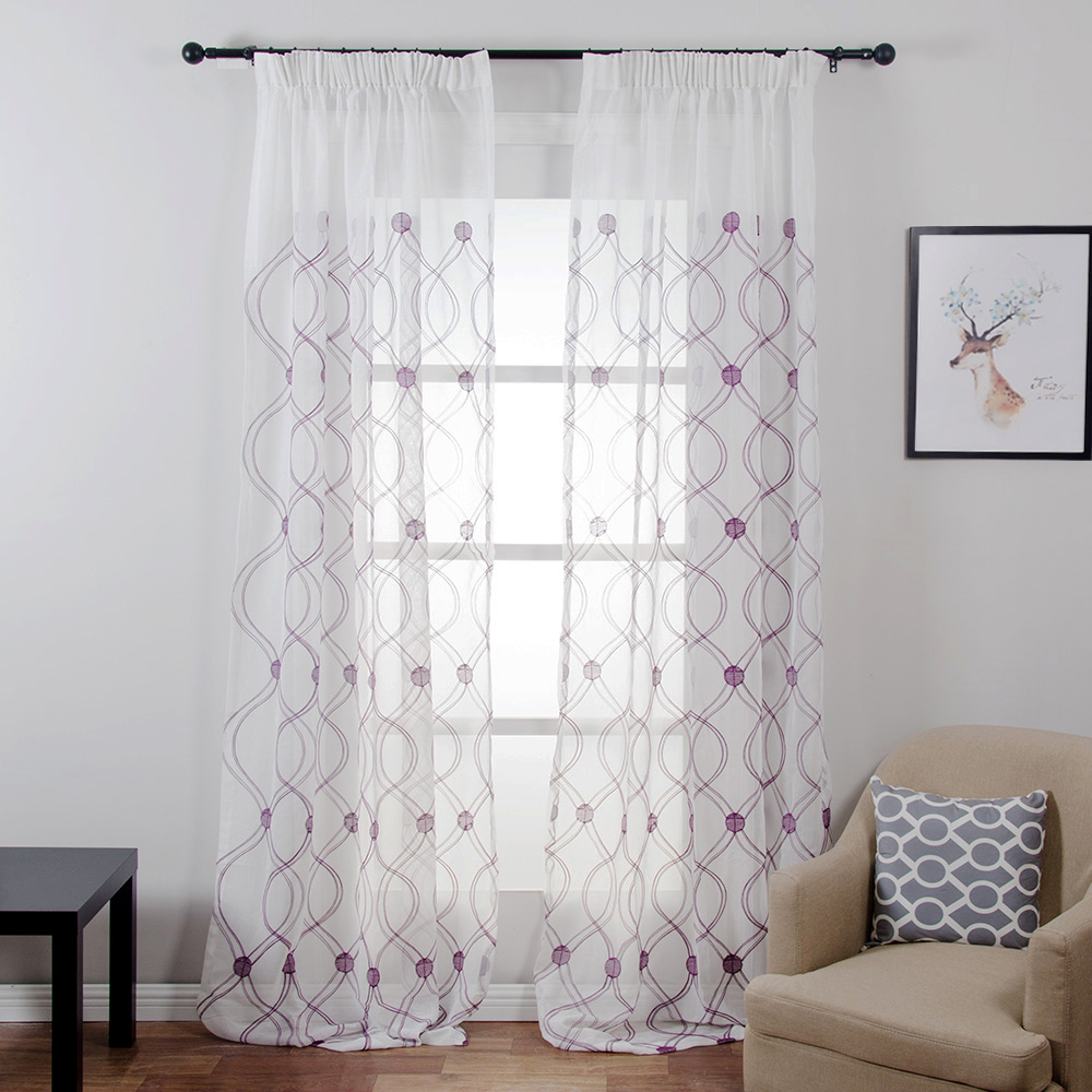 Topfinel Wave Pattern White Sheer Curtains Window Tulle Curtains For Living Room Bedroom Tulle