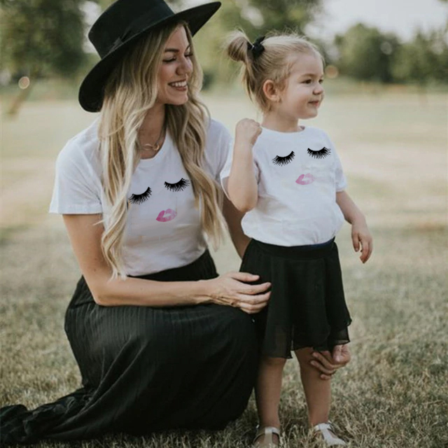 Lips & Lashes Mom Baby Girl Matching Shirt T-Shirt Blouse Tee Tops Family Outfit Clothes Short Sleeve Casual Lips T Shirt Cloth