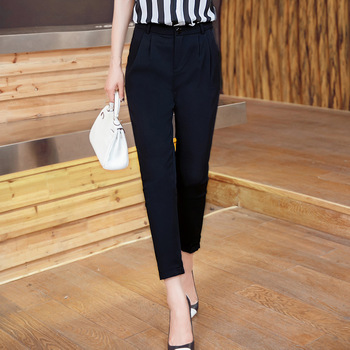 2018 Women Summer Ankle-length Pant Casual Black Harem Pants New Design Women Mid Solid Color Pleated Drawstring Suit Pants фото