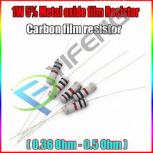 Новый 20 штук 5% 1 Вт Металлооксидные Плёнки резистор 0.36 0.39 0.43 0.47 0.5 Ом углерода Плёнки резистор