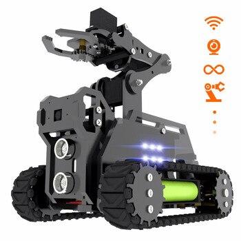 Adeept RaspTank WiFi Wireless Smart Robot Car Kit for Raspberry Pi 3 Model B+/B/2B, Tank Tracked Robot with 4-DOF Robotic Arm, O industrial robot 3d rotate mechanical arm alloy manipulator 6 dof robot arm rack with 996 servos 1 alloy gripper controller