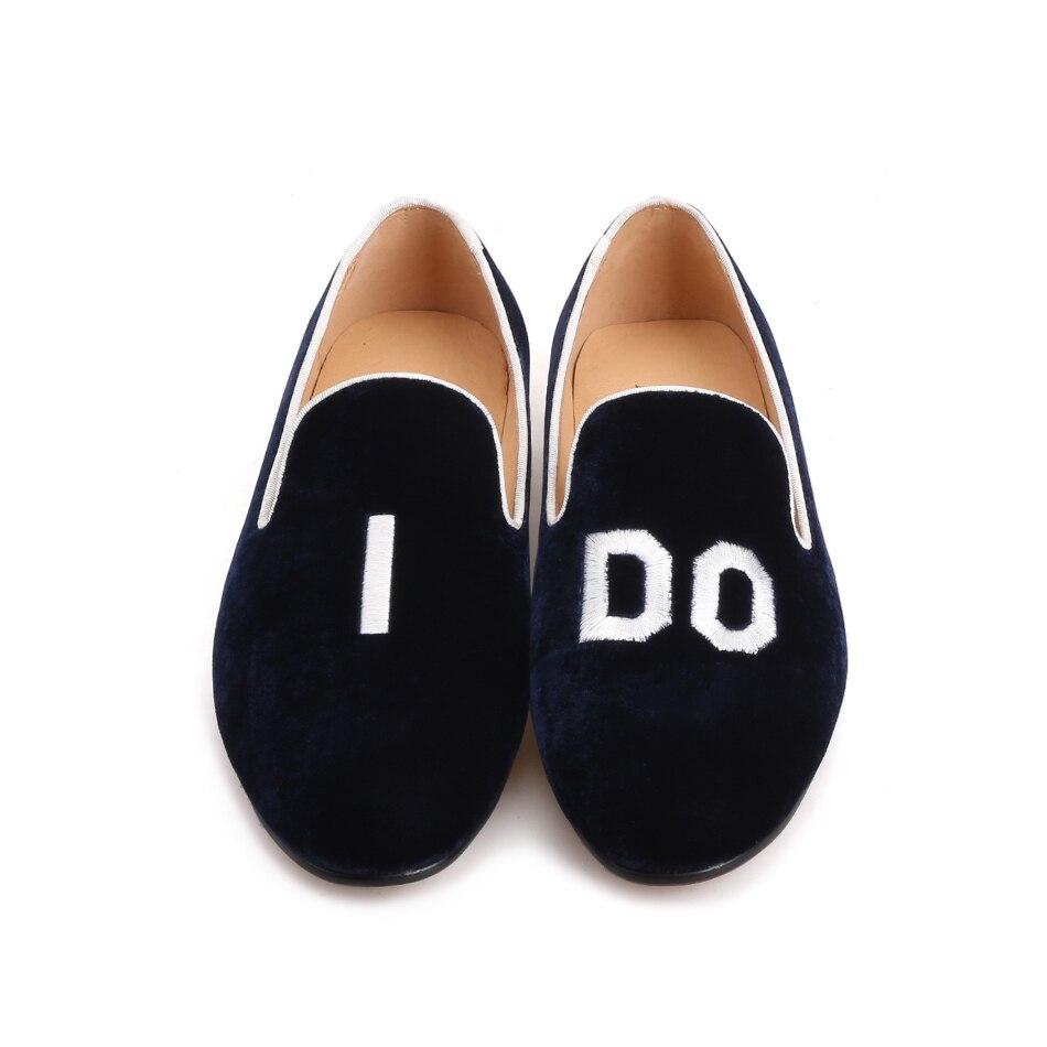 Schuhe Neue Fashion Stickerei Mit Einlegesohle on Initial Party Leder Handgemachten Hochzeit Müßiggänger Marine blau Männer 2018 Slip Stil Piergitar Und BqRTwR