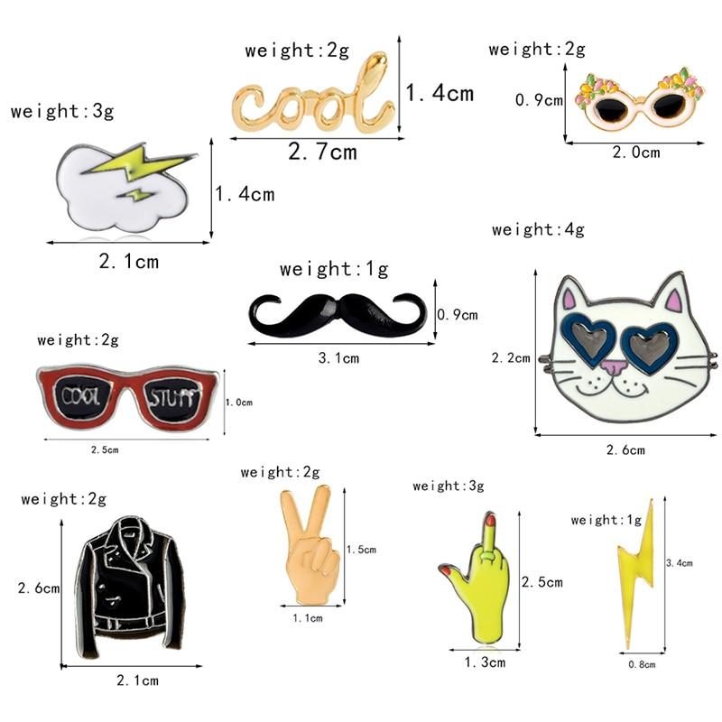 ee73e2222c Oferta precio colección de dibujos animados esmalte pin relámpago nubes  bigote gato gafas de sol broches solapa pin botón insignia regalo divertido  ~ Best ...