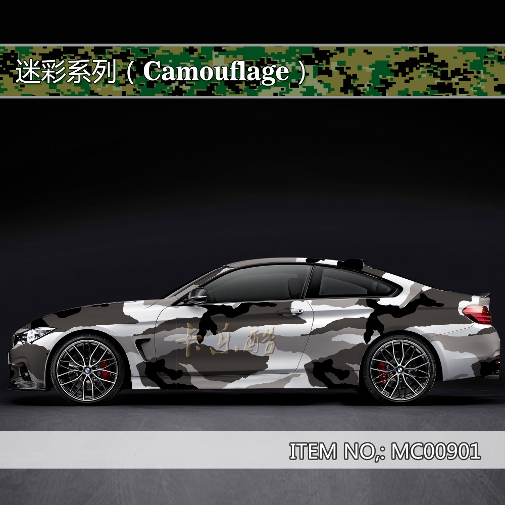 Camouflage custom car sticker bomb Camo Vinyl Wrap Car With Air Release snowflake Body StickerMC009