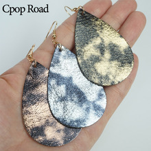 Cpop New Trendy Glitter Genuine Leather Earrings Women Shiny Pendant Statement Water Drop Fashion Jewelry Accessories