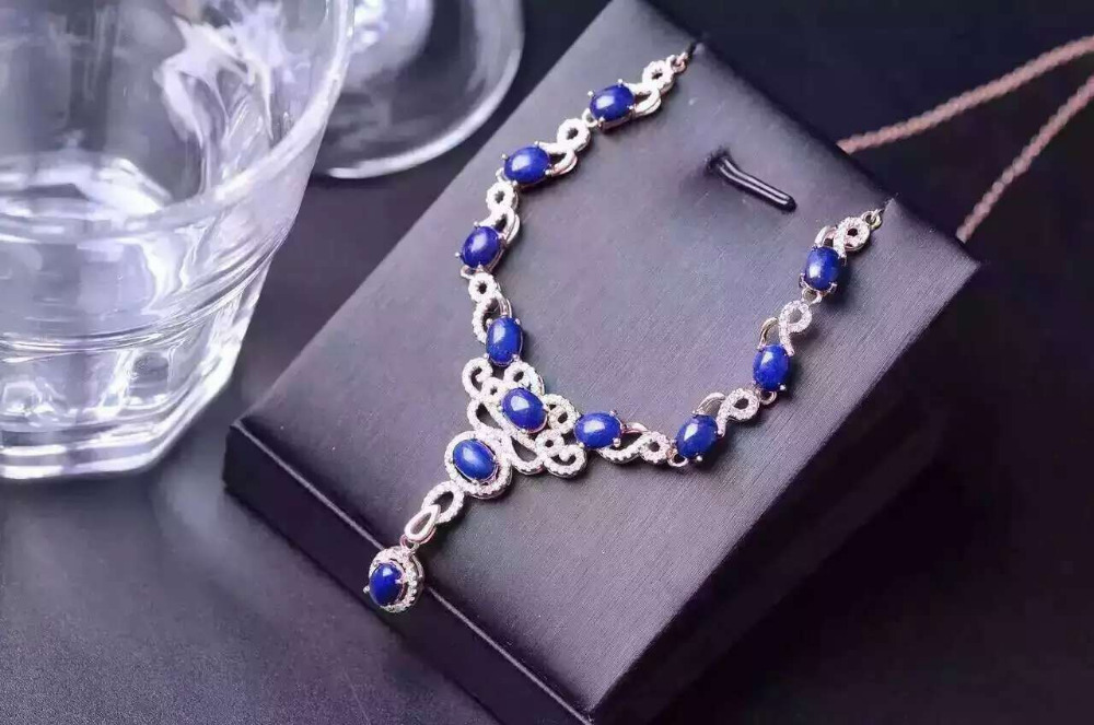Natural lapis lazuli Necklace natural gemstone Pendant Necklace S925 silver trendy Luxury large round women party fine JewelryNatural lapis lazuli Necklace natural gemstone Pendant Necklace S925 silver trendy Luxury large round women party fine Jewelry