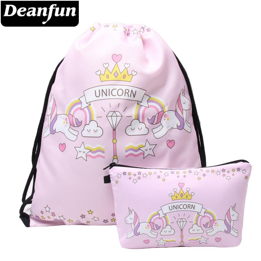 Deanfun Pink Drawstring Bag Set 3D Printed Unicorn Girls School Organizer For Teenager 014
