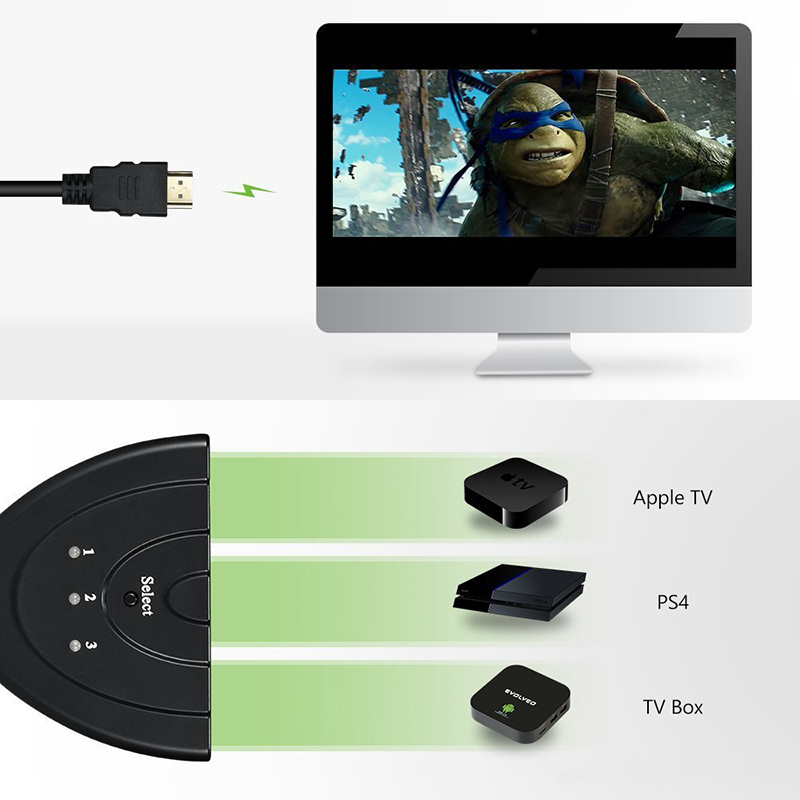 Amkle Mini 3 Ports HDMI Splitter Cable 1.4b 4K*2K 1080P Switcher HDMI Switch 3 in 1 out Port Hub for DVD HDTV Xbox PS3 PS4