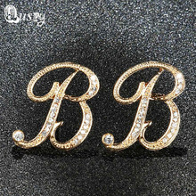 Qusfy 2017 New Arrival 6 Colors B Letter Stud Earrings for Women Crystal Fashion Jewelry Stud Earrings Simple Female Ear Studs