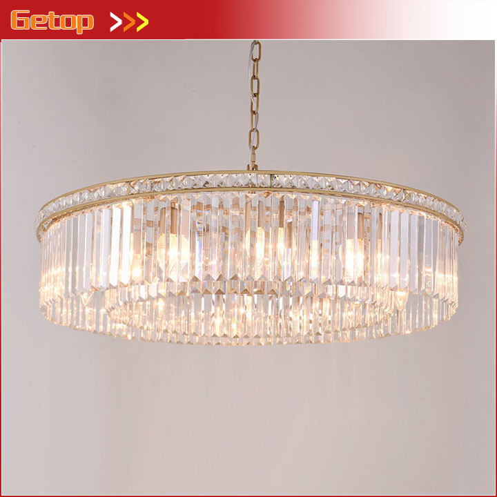 American Vintage K9 Crystal Chandelier LED Retro Suspension Chandeliers Round Living Room Restaurant Hotel Hanging Lighting