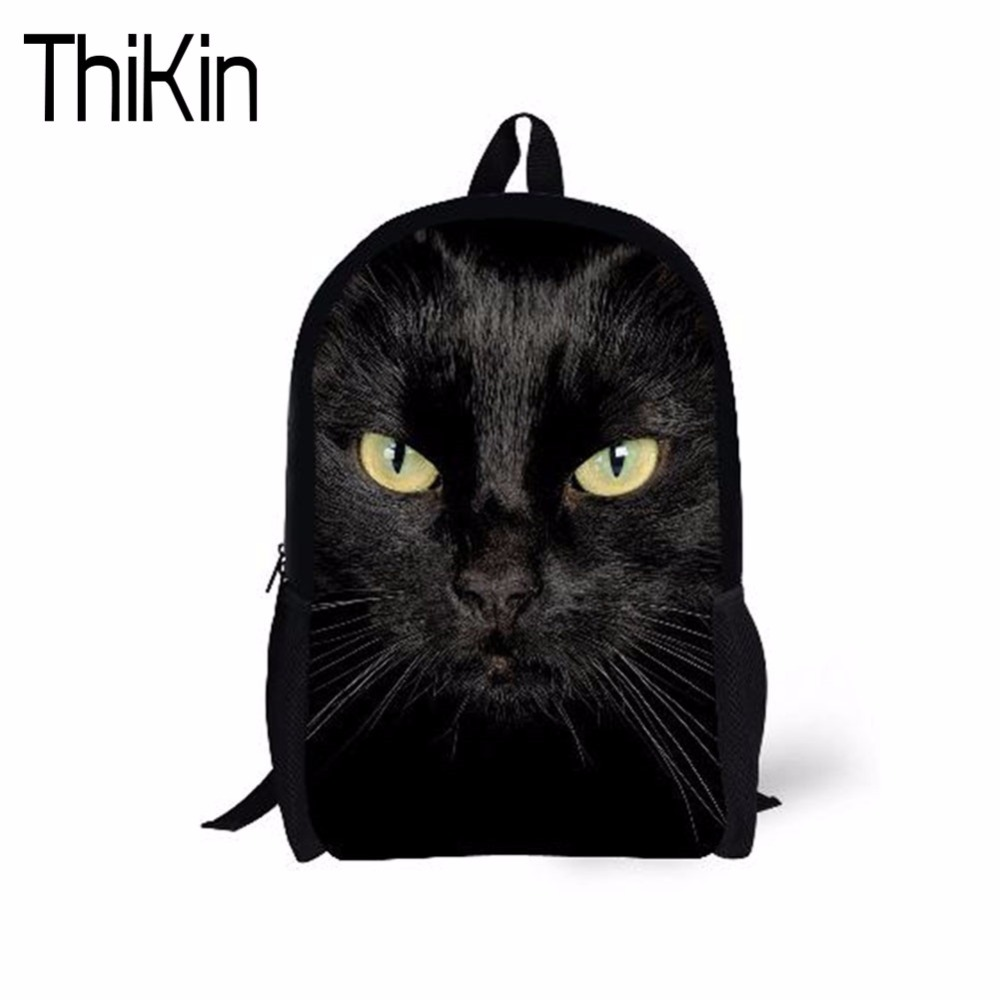 THIKIN Black Cat School Bags for Girls Schoolbag Children Animal Backpack Kids Bookbag Teenagers Daily Rucksack Mochila Bagpack