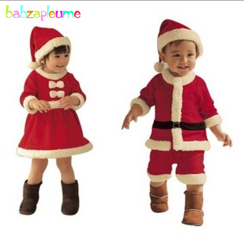 0a506b15440f8 Happy New Year Children Costume Winter Fleece Thicken Infant Clothing Set Girls  Dress Hat Newborn Baby Boy Christmas Outfit A049