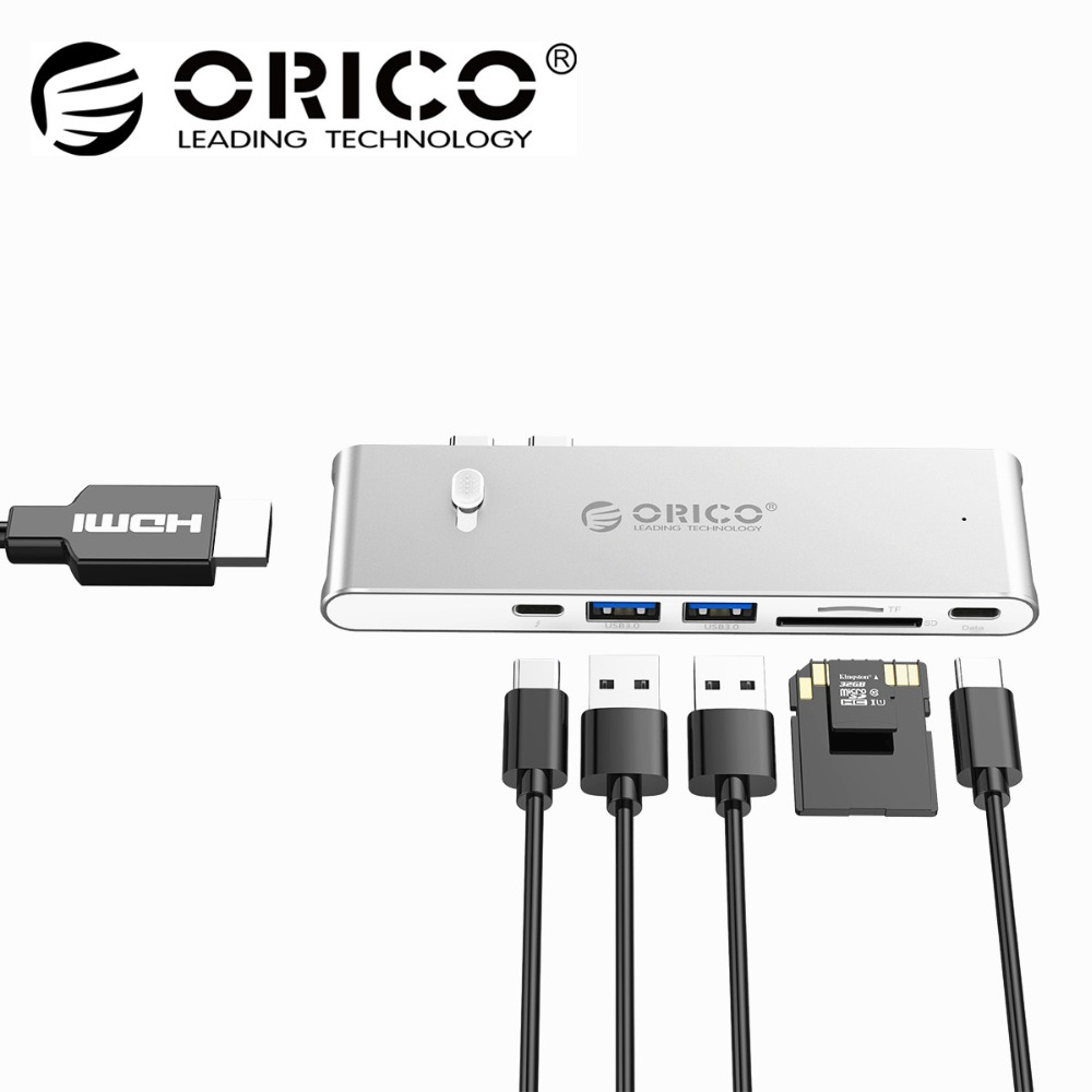 ORICO USB HUB Type C to HDMI TF SD USB 3.0 Thunderbolt 3 Adapter for Apple Macbook Pro Laptop PC Tablet