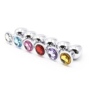 Image 3 - גודל קטן מתכת אנאלי Plug עם יהלומים נירוסטה שלל חרוזים קריסטל אנאלי תקע התחת צעצועי מין לנשים גברים הומו